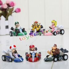 "Super Mario Bros 2"" Kart Pull Back Car Figure kid's toy gifts set/6pcs"
