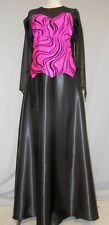 BLACK VELVET-FLOCKED SWIRL DESIGN ON HOT PINK STAGE COSTUME--#4 SIZE X LARGE