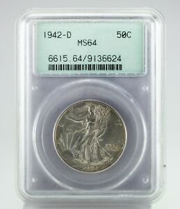 1942-D 50C Walking Liberty Half Dollar Graded by PCGS as MS64! Old Rattler
