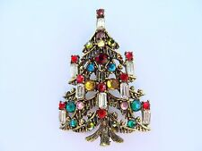 Vintage Estate Hollycraft Rhinestone 8 Candle Christmas Tree Brooch Pin