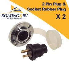 2 x 2 Pin Plug and Socket Rubber Plug - Marine Waterproof Electrical