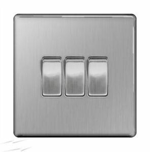 BG FBS43 Brushed Steel Triple Light Switch 3 Gang 2 Way Screwless Flatplate
