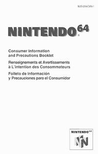 N64 Consumer Information & Precautions Booklet Nintendo 64 Info Manual MULTI-QTY