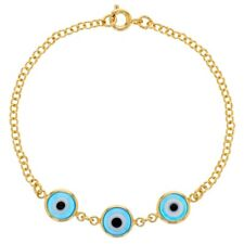 "18k Gold Plated Light Blue Blue Turkish Evil Eye Protection Lady Bracelet 7"""