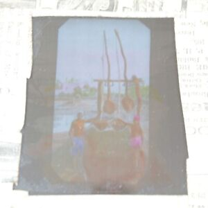 India Ceylon drawing water from well magic lantern slide antique photograph