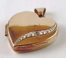 100%  Genuine Vintage 9ct Solid Yellow Gold Photo Locket Pendant with a Diamond