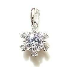 Solid 14K White Gold 1.5 Ct Round Diamond Pendant Necklace Snowflake Charm S21