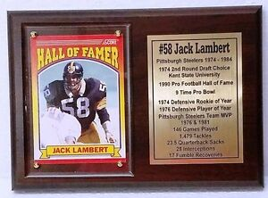 Pittsburgh Steelers Jack Lambert Football Card Plaque