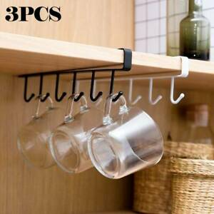 3x 6 Hooks Metal Under Shelf Cup Cupboard Kitchen Organiser Hanging Rack Holder