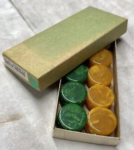 "VTG Box 30 NOS Bakelite Crisloid Backgammon Checkers Swirled Green Yellow 1 1/8"""