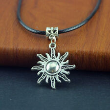 Pu Leather Necklace Chain 20inch Unisex Fashion Jewelry sun Tibetan Silver