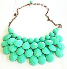 Unbranded Bib Necklace Faceted Turquoise Acrylic Bead Copper F90