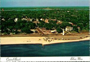 "Vintage Postcard  BILOXI MS  ""CENTRAL BEACH""  LIGHTHOUSE"