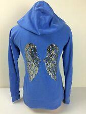 Victoria's Secret VS Blue Zip Up Hoodie Sweatshirt Jacket Bling Angel Wings Sz S