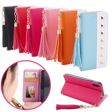 Women Leather Tassel Wallet Card Mirror Stand Case For iPhone XS Max XR 8 7 6S