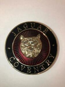 JAGUAR COVENTRY CAR GRILLE BADGE 3 INCH DIAMETER GOLD