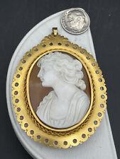 Vintage 12k gold filled cameo brooch large vintage cameo pinpendant in 12k gold filled frame.