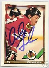 DIRK GRAHAM 1992 TOPPS CHICAGO BLACKHAWKS  AUTOGRAPHED HOCKEY CARD JSA