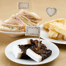 20 Vintage Romance Food Flags Wedding Party Buffet Sticks Ivory / Gold Heart