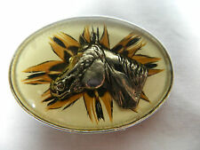 "Mid Century/ Horse Buckle/Hand Painted Back Ground/ Engraved Horse Head/ 3"" Wide"
