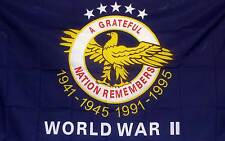 3' X 5' WW II A GRATEFUL NATION polyester flag w/ grommets. Banner Sign Display