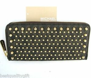 MICHAEL KORS JET SET TRAVEL BROWN MK PVC+GOLD STUD ZIP-AROUND CONTINENTAL WALLET