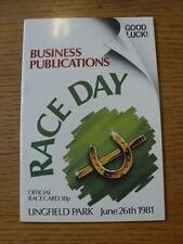 26/06/1981 Horse Racing: Racecard - Lingfield Park