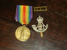 WWI Victory Medal  Pte R Dooker Durham Light Infantry with cap & shoulder badge