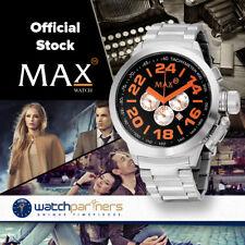 MAX WATCH THE CLASSIC CHRONO 5ATM BLACK/ORANGE DIAL S/S BRACELET 47MM 5-MAX456