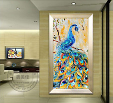 Hand-painted knife oil painting Art on canvas No frame Embossed peacock A062
