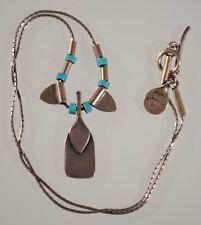 Vintage Sterling Silver Paddle Fringe Necklace Turquoise Artisan Pendant & Beads