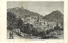 Stampa antica BADEN-BADEN Veduta Generale Germania 1889 Alte Stich Antique Print