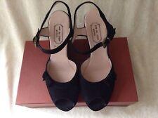 Fabulous Rue Du Jour (Retail $455) Black Suede Wedge Sandal Size 7