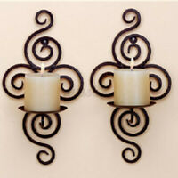 Iron Hanging Candlestick Wall Mount Tealight Candle Holder Sconce Home Decor ~
