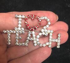 brooch pin heart Love 2 Teach crystal