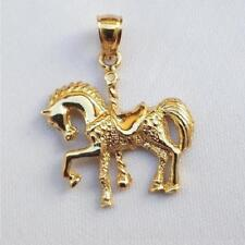 14k Yellow Gold HORSE CAROUSEL Pendant / Charm, Made in USA