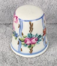 Limoges Thimble - Blue Pink Ribbon and Flowers & Gilt Accents - SIGNED HS 180