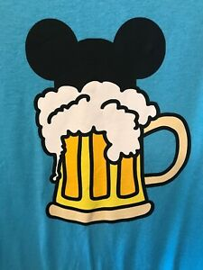Vintage Custom Disney T-Shirt Mickey Mouse Beer Bright Blue Size L Mickey Ears
