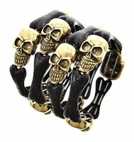 Skull and Bones Day of the Dead Stretch Metal Halloween Women Bracelet Bangle