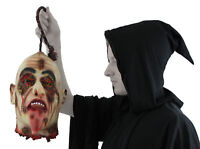 HANGING SEVERED HEAD LIFE SIZE BURNT FACE HALLOWEEN PROP JOKE GORY DECORATION