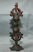 "8 ""Antique Antique Tibet Bouddhisme Temple Bronze Phurba Dagger Holder Statue"
