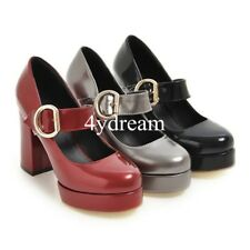 Womens High Platform Heels Pumps Shoes Chunky Heels Buckle Mary Janes Size 32-47