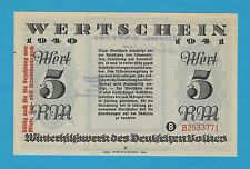 Germany Winterhilfswerk WHW 5 RM OVPRT 1940-41 S/B-Kroll 393 Block B As Issued