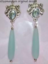 Art Nouveau Art Deco earrings sea glass Edwardian 1920s vintage style goddess