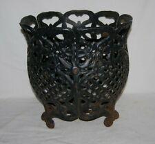 VINTAGE  IRON GARDEN  Ornate  Open Basket Planter  Flower Plant Stand Pot