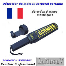 DETECTEUR DE METAUX METAL SECURITE CORPOREL A MAIN PORTABLE NOIR