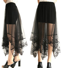 Mini Skirt Woman Tulle Long Clear with Lace - Woman Tulle Lace Skirt 130038