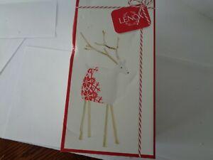 NEW LENOX FESTIVE FOLK  SMALL REINDEER FIGURINE WHITE RED SNOWFLAKE CHRISTMAS