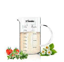 Sendez® Messbecher 1 L Glas hitzebeständig Messkanne Dosierhilfe Messbehälter