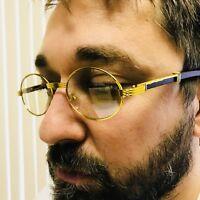 d178bf98a75 Vintage Wood Buffs Migos Designer Eye glasses Oval Gold Frame Clear Lens  Glasses